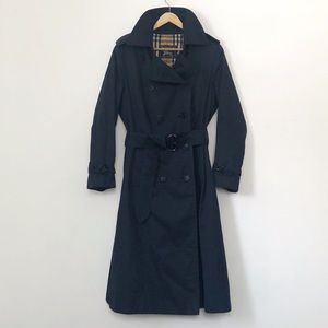 Vintage Genuine Burberry Navy Belted Trench Coat